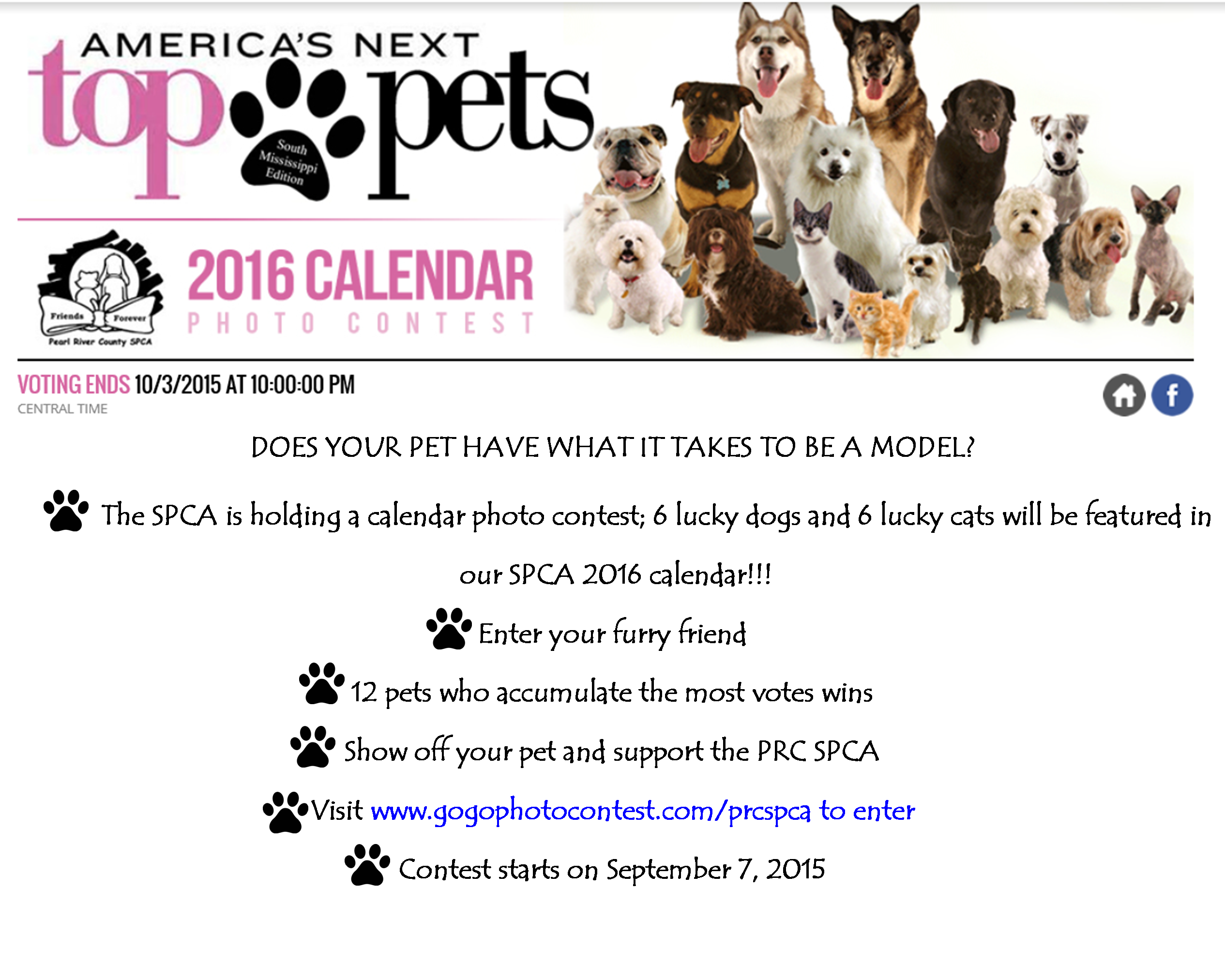 Calendar Photography Contest : Photo contest calendar prcspca